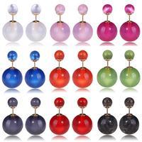 2014 Hot Selling 16mm Double Pearl Earrings Jelly Candy Color Shining Big Pearl /Cat Eye Opal/ CCB Stud Earring For Women