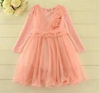 HOT ! Girl's autumn flower gauze tutu dress , dresses for girls , girls clothing , 5pcs/lot   LRX08