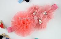 120pcs/lot  Chiffon Fold Mesh Flower With Triple mesh pearl Flower  Headband