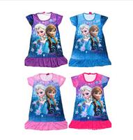 2014 New  Frozen Elsa Dress Retail Girl Princess Dress Summer Print  Cartoon Picture Costume Kids Children Clothes