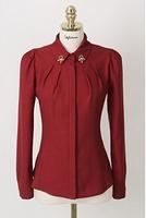 2014 New Fashion Spring Summer Solid Color Long Sleeve V-Neck  Slim thick chiffon long-sleeved shirt shirt bottoming shirt