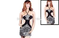 Women New Sexy Bikini Dress Zebra-Stripe Corset Lingerie Halter A Thong Matched S0BZ