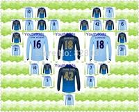 New Fashion Manchester Youth Kun Aguero Silva Jovetic Yaya  Milner Purple Blue Soccer Jersey 2014-2015 Kids Long Sleeve Jersey