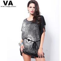 Plus Size Women Tops Batwing Short Sleeve O Neck Printing Tshirt Women New Summer Fashion Casual Tshirt for Women CLothes W00124