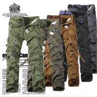 SIZE 28-40 Military 2014 Army Baggy Pants Camouflage Outdoors Mens Khaki Cargo Pants Men's Sport Joggers Multi Pocket Trousers