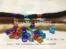 Free Shipping 100Pcs/Lot multi coloured  Hair Dreadlock Bead adjustable cuff clip 8mm hole clip(China (Mainland))