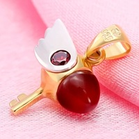 2014 High quality fashion Anime pendants Cardcaptor Sakura Red Agate+925 Sterling Silver chain cosplay Pendant Necklace