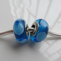 Blue Glass charm with five hearts & 100% 925 Sterling Silver inner ring, charms fits European brand bracelets, Free Shipping