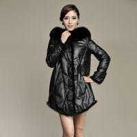 Fox fur hat tie women's medium-long genuine leather down coat leather clothing plus size plus size loose