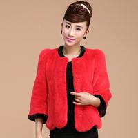 Korean style women pure mink fur short coat for girls and ladies Red mink fur coat