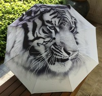 Free shipping 2014 New Novelty Items Traditional Chinese Oil Painting Umbrella For Men Anti-uv 3 Folding Animal Umbrellas Tiger