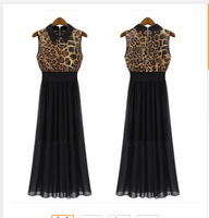 fashion 2014 autumn Leopard Print sexy casual dress women vestidos Hit color sleeveless chiffon small lapel dresses B2737LYQ