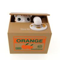 Wholesale 4 pcs/lot Lovely Steal Money Cat Kitty Coins Piggy Bank Saving Box Money Box Xmas Gift Free Shipping