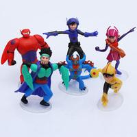 Anime Cartoon Big Hero 6 Toys Dolls Hiro Hamada Baymax PVC Action Figure Collectible Toys Free Shipping 6Pcs/Lot