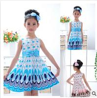 2014 Baby Kids Frozen Elsa Dress New Summer Print Anna Dresses Frozen Princess Girl Clothes Costume