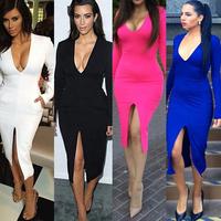 Women Winter Dress 2014 Long Sleeve Midi Sexy Dress White Black Bodycon Deep V-neck Bandage Dress Plus Size Casual Party Dresses