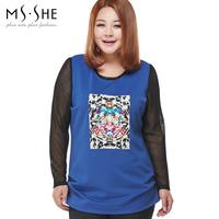 Msshe plus size clothing 2014 mm fashion print basic t