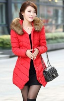 2014 new women's winter fashion warm long sections Nagymaros collar down coat female solid big size slim thick padded M - XXXL