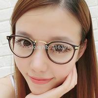 2015 New Fashion Men/women round frame eyeglasses myopia prescription glasses frame unisex decorative plain mirror