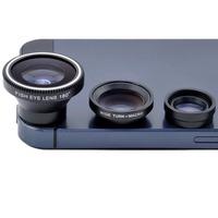 3 in 1 Len Kit 180 Degree Fisheye Lens + Wide Angle + Micro Lens for iPhone 5s/5c 5 4s 4