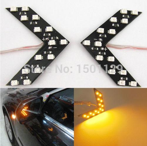 2pcs Amber Arrow Panel 14SMD LED Car Side Mirror Turn Signal Indicator Light CA(China (Mainland))