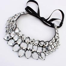 2014 New Fashion Chain Crystal Rhinestone Neon Vintage Bib Flower Ribbon Power Statement Necklaces Pendants Women