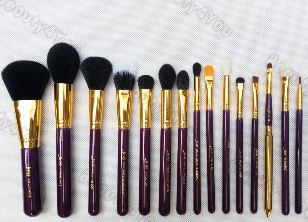 Jessup pro 15 pcs pinceaux de maquillage jeu fondation. anticernes fard à paupières en poudre eyeliner pinceau à lèvres outil violet./or,