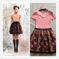 2014 Winter New Brand Warm Dresses Wool Knitted Cute Flower Embroidery Dresses Black/Pink Cheap Vestidos Free Shipping W90124