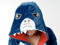 Shark Blue Animal Cosplay Costume Men Women Adult Onesie One Piece Pajamas Soft Fleece Pyjamas Jumpsuit Romper Sleepwear
