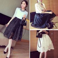 Moodeosa 1PC Women Double Layer Pleated Retro Plaid Long Elastic Waist Skirt Free shipping&wholesale