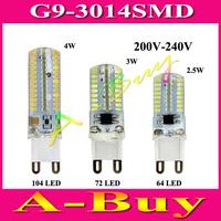 1Pcs Mini G9 6W 7W 9W LED Lamp 3014 SMD AC 220V 230V 240V Sillcone Body Corn Bulb 64 72 104 LEDs Crystal Chandelier Spot Light