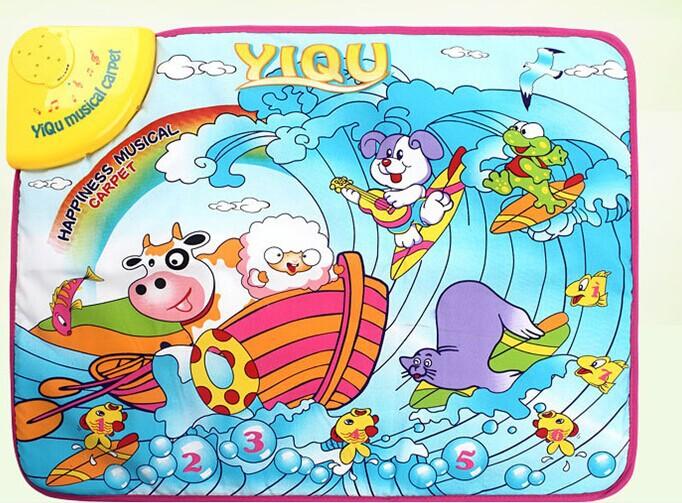 free shipping 59*49cm ocean musical carpet play mat baby toy blanket crawl mat floor rug with english language(China (Mainland))