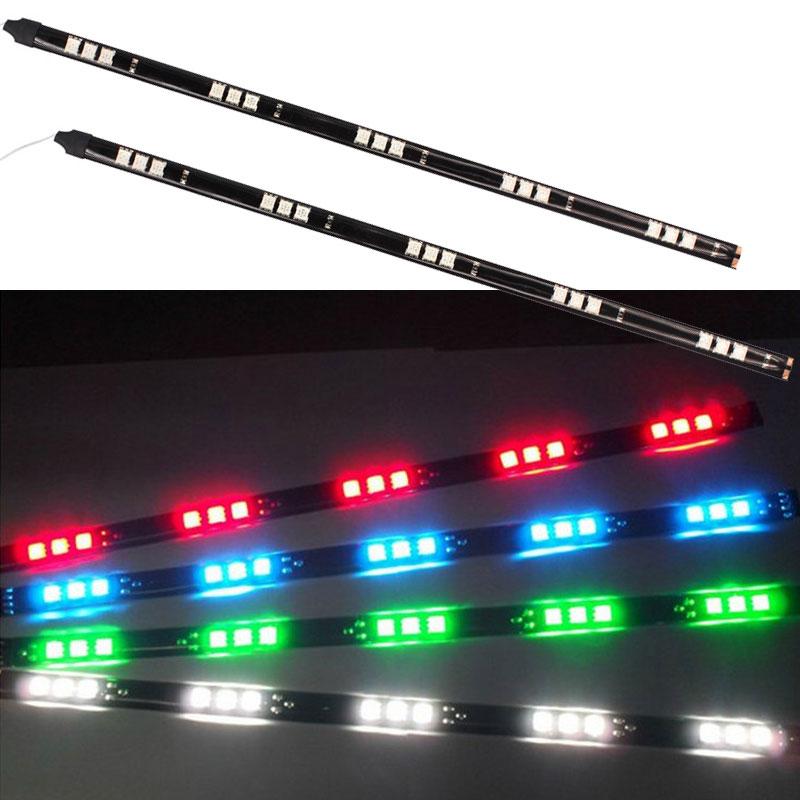 2 Pcs 12 V 30 cm flexível 15 SMD 5050 LED Car faixa carro / Motor flexível tira impermeável à prova d ' água decoração tiras luzes(China (Mainland))