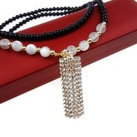 Black Beads Fashion Jewelry Chain Rhinestones Animal Charms Necklaces