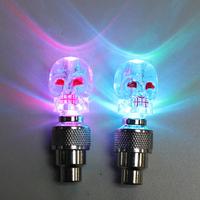 New Arrival 2PCS/Lot Skull MIX LED Flash Light Neon Lamp Night Bike Car Tire Tyre Wheel Valve Caps, Free & Drop Shipping
