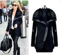 New 2014 European Fashion Women's Woolen Coat Blends Overcoat Big Faux Turn Down Collar Winter Thick Coats Plus Size 5XL R5072
