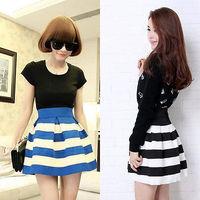 2013 NEW girl Korea Style Stylish Flared Black and white stripe womens skirts Vintage Retro fashion Skirt women