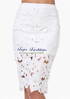 New Designer Summer Women Fashion Hot Sale White Crochet High Waist Pencil Peplum Skirts Saias Femininas 2014