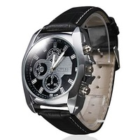 In 2014 the new fashion Men's Silver Case Leather Band Quartz Analog Wrist Watch (Assorted Colors)