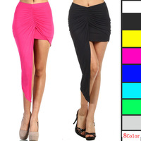 Wholesale cotton 8 colors irregular exposed leg package hip draped sexy women skirt M L XL A-162