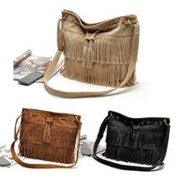 crossbody bags for womenFaux Suede Fringe Tassel Shoulder Bag Women Handbag drawstring Messenger Bags Black Brown Beige