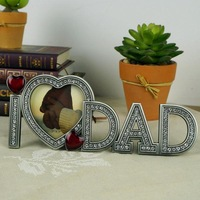 """Free Shipping High Quality Zinc-alloy Metal Photo Frames I LOVE DAD Family Gift Frame 3 x 3""""  with Full Shinning  Stones"""