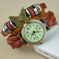 2014 New Fashion Leather Retro Vintage Butterfly  Weave Wrap Quartz Wrist Watch Bracelet Watch for women lady 2 Colors