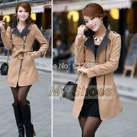 2014 High Quality Women Winter Coat Stylish woolen Warm Long Jacket with Belt Overcoat 4 color SV006432