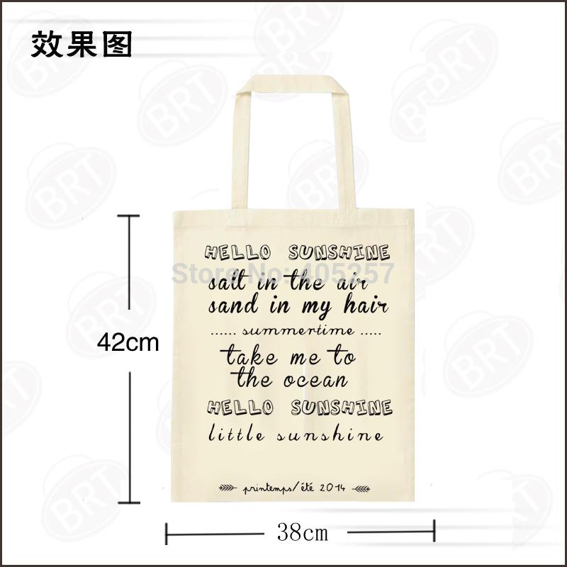 Free shipping wholesale 100pcs custom design printing logo various size Promotion Natural Cotton Shopping Tote Bag(China (Mainland))