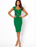 Plus Size XXL 2014 New Sexy Bodycon with sashes Slim Elegant Celebrity Club Party Dresses Women OL Work Wear Vestidos