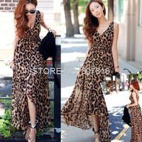 V Collar Leopard Print Dress Summer Long Beach Sexy Sleeveless Dress Hot