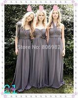 Elegant New Fashion Long Gray Bridesmaid Dresses 2015 Formal Chiffon Bridesmaid Gown Custom all US Size H508