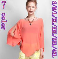 2015 Spring and Autumn women Sexy perspective bat sleeve chiffon shirts,plus size S-4XL Asymmetric chiffon blouse,casual shirts