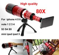 80x mobile phone Telescope Lens For iphone 4 4s 5 5s 5c 6 plus ipad 3 mini ipad Samsung note 1 2 3 4 N7100 i9300 i9500  S3 S4 S5